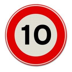 Verkeersbord A01-10 Max. snelheid 10 km per uur
