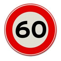 Verkeersbord A01-60 Max. snelheid 60 km per uur