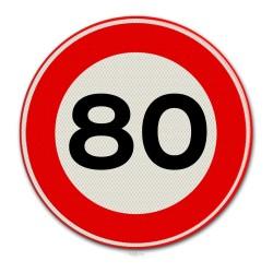 Verkeersbord A01-80 Max. snelheid 80 km per uur