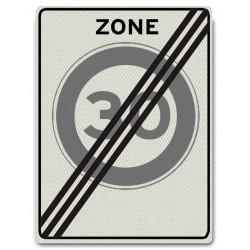 Verkeersbord A01-30-ZE Einde Zone max. snelheid 30 km/u