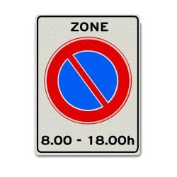 Zonebord E01zb-t  Parkeerverbod tussen bepaalde tijden