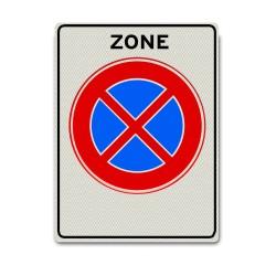 Zonebord E02zb  Verboden stil te staan in deze zone