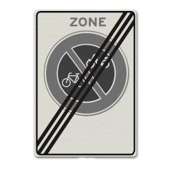 Verkeersbord E03ze Einde zone verbod bromfietsen en fietsen te plaatsen
