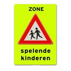 Verkeersbord Zone met spelende kinderen